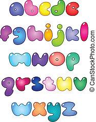caso, alfabeto, más bajo, burbuja, grasa