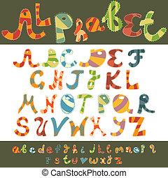 caso, alfabeto, más bajo, diversión, capital