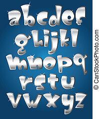 caso, alfabeto, más bajo, plata