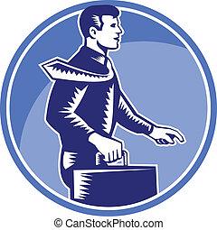caso, ambulante, woodcut, agregado, llevar, hombre de negocios, lado