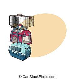 caso, animal estimação, metal, três, plástico, transporte, portador, tipo, saco
