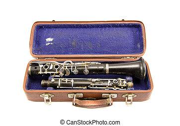 caso, antiga, antigas, isolado, usado, clarinete