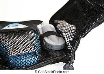 caso, apparecchiatura, diabetico, nero