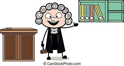 caso, archivos, actuación, ilustración, vector, magistrado