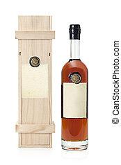 caso, armagnac, botella, de madera
