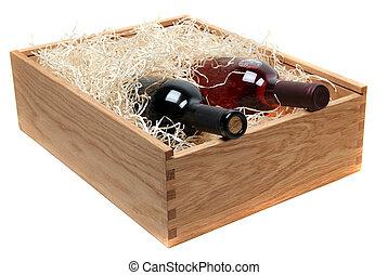 caso, botellas, de madera, dos, blanco, wood-wool, vino