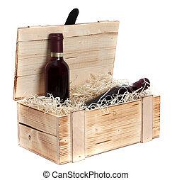 caso, botellas, de madera, dos, vino rojo