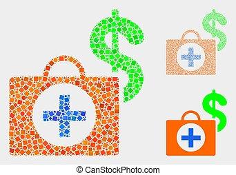 caso, círculos, financeiro, médico, colagens, quadrados, ícone