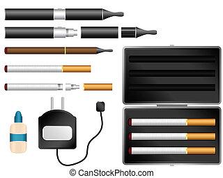 caso, cargador, líquido, kit, cigarrillo, electrónico