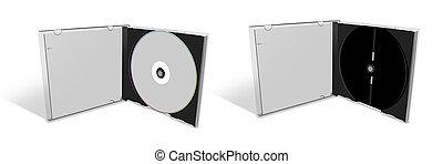 caso, cd, vacío, blanco