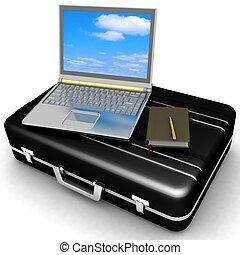 caso, computador portatil, bloc, aislado, plateado, pluma,...