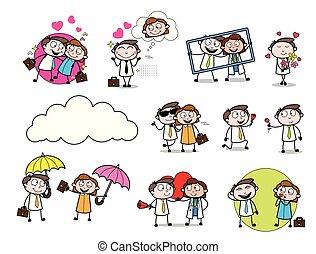 caso, conceito, amor, escritório, &, vetorial, lugar, jogo, caricatura, profissionais