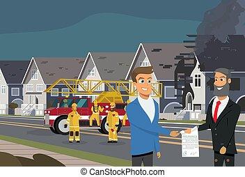 caso, conceito, fogo, vetorial, propriedade, seguro