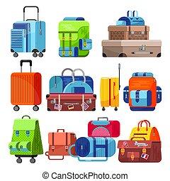 caso, conjunto, turista, equipaje, viaje, o, vacaciones, ilustración, aislado, bolsa, viaje, viaje, vector, aventura, plano de fondo, maleta, bolso, blanco, equipaje, turismo, viaje