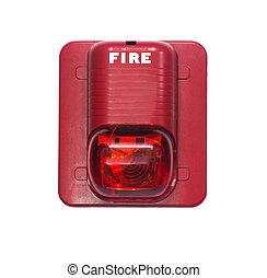 caso, construído, fogo, luz, alarme, alerta, strobe