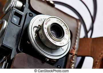 caso, cuoio, lente macchina fotografica, vendemmia