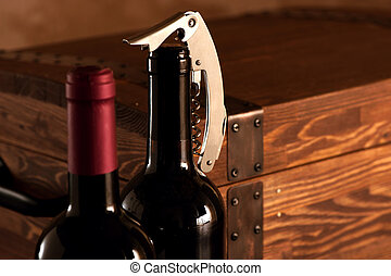 caso, de madera, botellas, vino