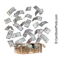 caso, de madera, notas, vuelo, dólar