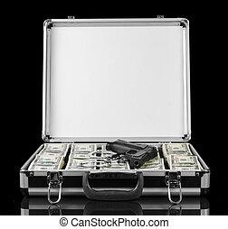 caso, dollari, pistola nera, isolato
