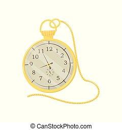 caso, dourado, loja, apartamento, promo, cartaz, homens, relógio, antigüidades, elemento, bolso, s, vetorial, longo, accessory., chain., brilhante, luxo