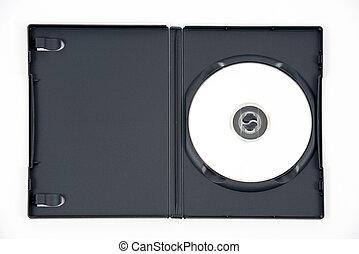 caso, dvd, blanco, abierto