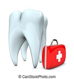 caso, emergência, dente