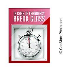 caso emergência, partir, vidro, -, tempo, conceito