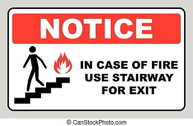 caso, escadaria, uso, fogo, sinal., vetorial, saída, símbolo