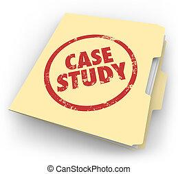 caso, estudio, palabras, estampado, carpeta de papel de...
