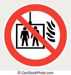 caso, fogo, uso, não, elevador