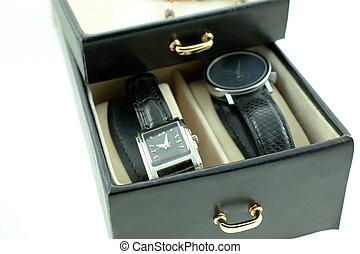 caso, jewelery, relojes, hembra negra, plata