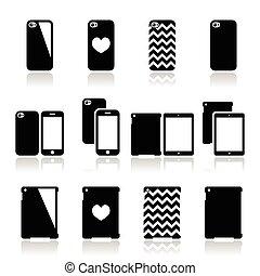 caso, jogo, smartphone, tabuleta, ícones
