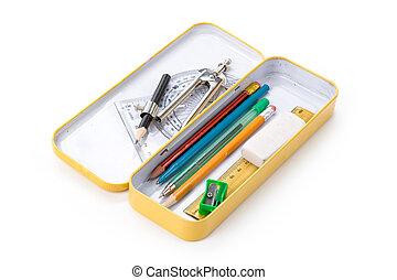 caso, lápiz, metal