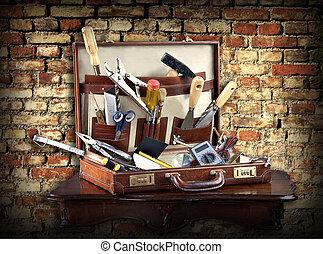 caso, lleno, herramientas, él, yourself:
