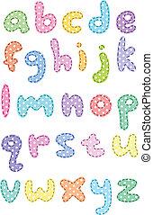 caso, más bajo, alfabeto, punto, puntadas