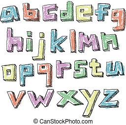 caso, más bajo, colorido, alfabeto, mano, sketchy, dibujado