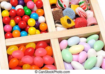 caso, madeira, doce, coloridos, variedade