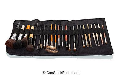 caso, matita, set, spazzole, isolato, nero, trucco, bianco