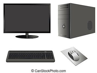 caso,  monitor,  computer, topo, tastiera