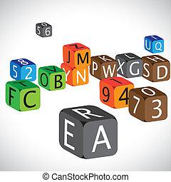 caso, números, utilizado, idioma, colorido, cubos, inglés, ilustración, numbers., hecho, caracteres, capital, alfabetos, enseñar, niños