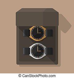 caso, orologio, uomo affari