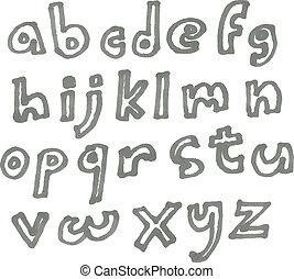 caso, pennarello, più basso, alfabeto