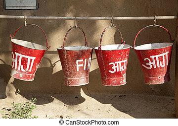caso, proteja, fogo, baldes, areia, enchido, vermelho