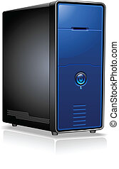 caso, realista, servidor de computadora