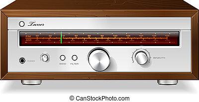 caso, stereo, legno, vendemmia, vettore, accordatore radio, ...