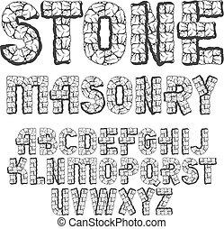 caso, superior, uso, typescript, letras, arrojado, pedras, alfabeto, set., modernos, vetorial, fonte, logotipo, feito, design.