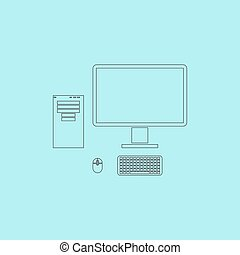 caso, topo,  monitor,  computer, vettore, tastiera, icona