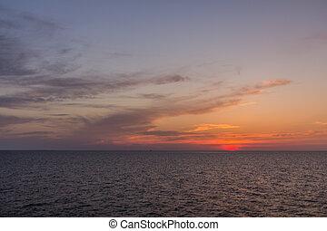 Caspian sea at the suns