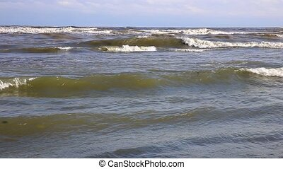 Caspian Sea, Iran, beautiful waves in the sea before the storm