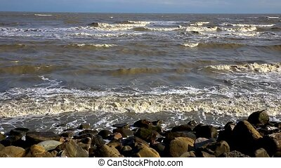 Caspian Sea, Iran, Waves hitting the shore
